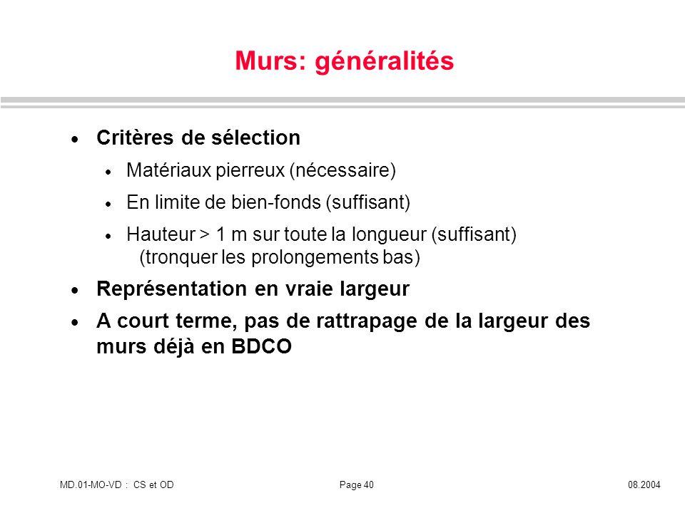 Murs: généralités Critères de sélection
