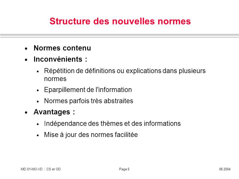 Structure des nouvelles normes