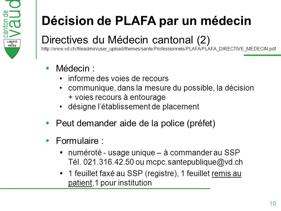 Décision de PLAFA par un médecin Directives du Médecin cantonal (2) http://www.vd.ch/fileadmin/user_upload/themes/sante/Professionnels/PLAFA/PLAFA_DIRECTIVE_MEDECIN.pdf