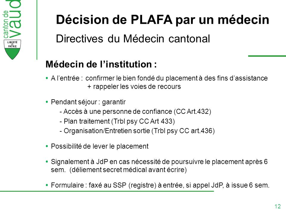 Décision de PLAFA par un médecin Directives du Médecin cantonal
