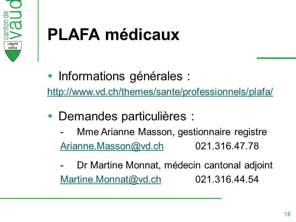 PLAFA médicaux Informations générales : Demandes particulières :