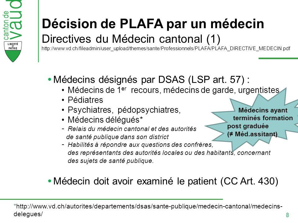 Décision de PLAFA par un médecin Directives du Médecin cantonal (1) http://www.vd.ch/fileadmin/user_upload/themes/sante/Professionnels/PLAFA/PLAFA_DIRECTIVE_MEDECIN.pdf