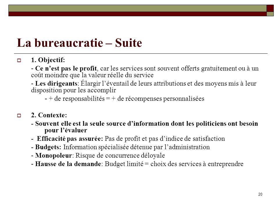 La bureaucratie – Suite