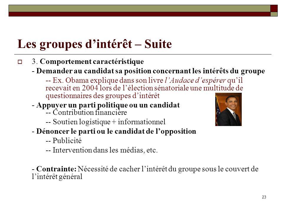 Les groupes d'intérêt – Suite