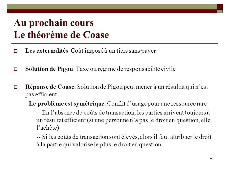 Au prochain cours Le théorème de Coase