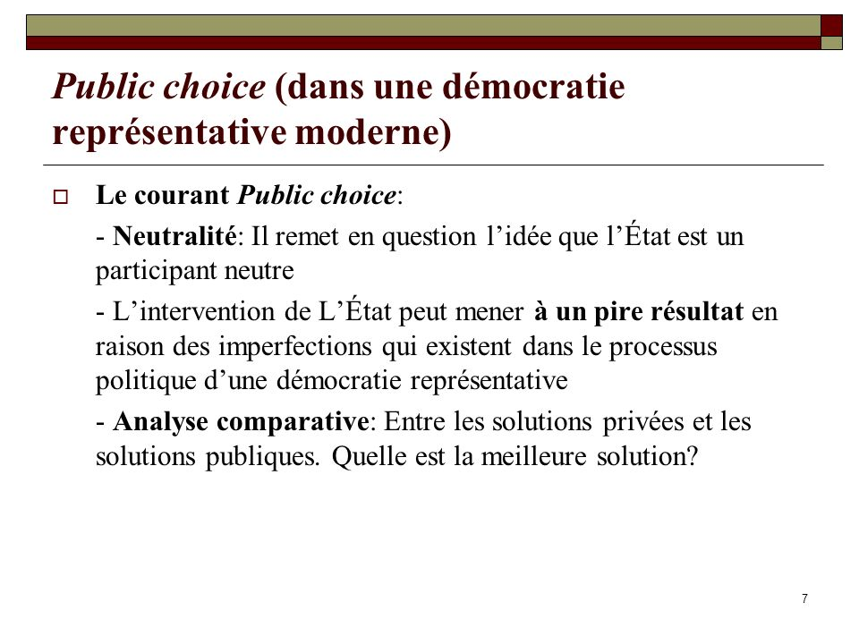 Public choice (dans une démocratie représentative moderne)