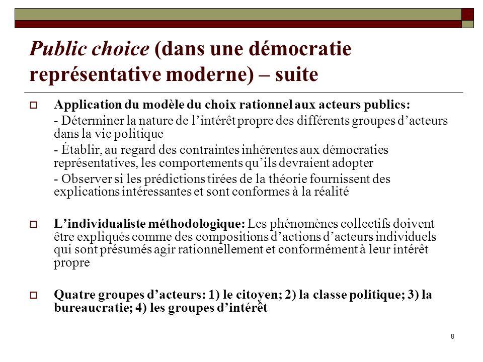 Public choice (dans une démocratie représentative moderne) – suite
