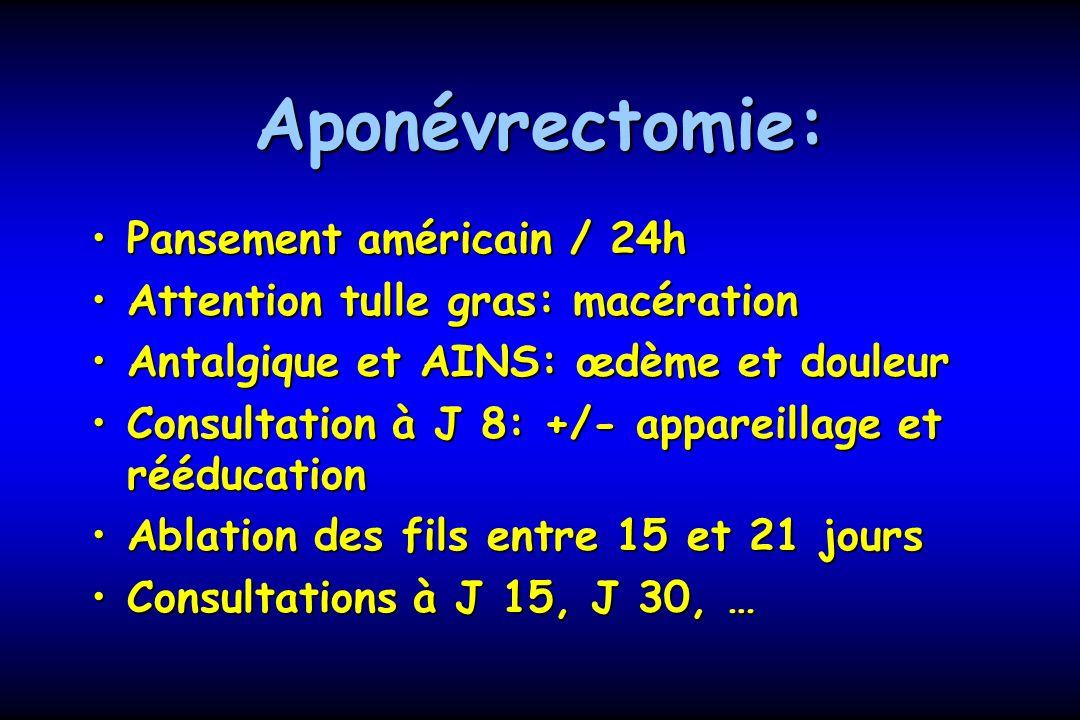 Aponévrectomie: Pansement américain / 24h