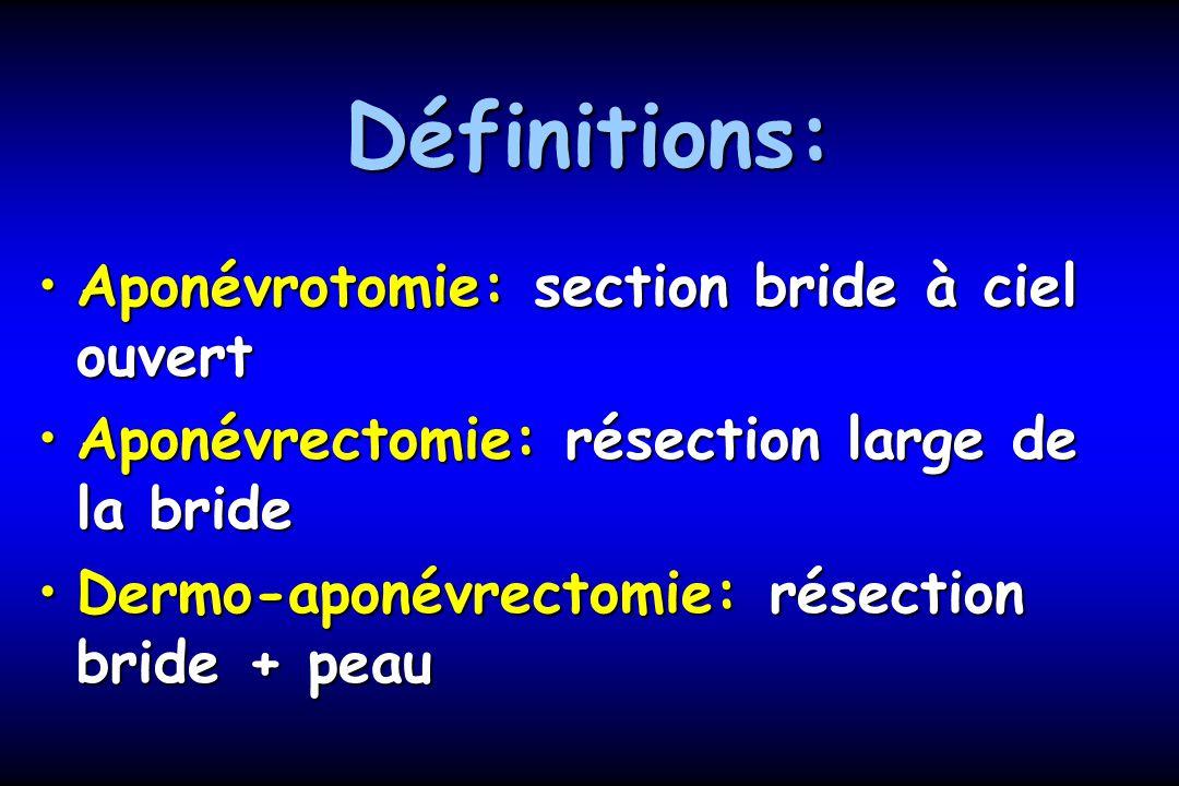 Définitions: Aponévrotomie: section bride à ciel ouvert