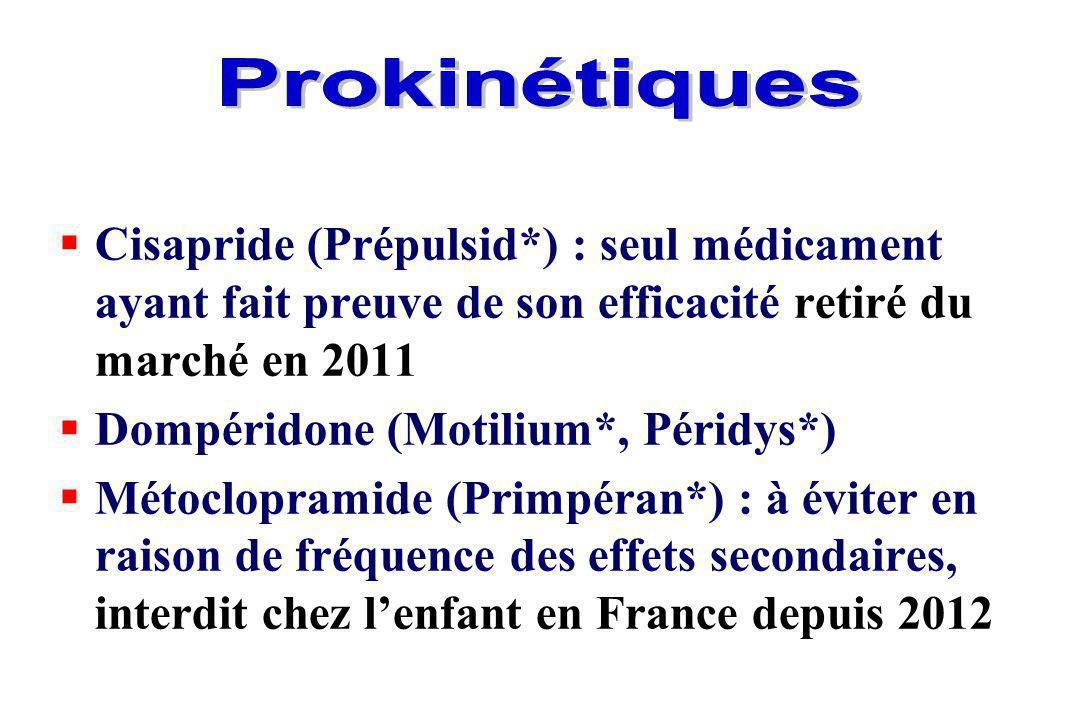 Prokinétiques Cisapride (Prépulsid*) : seul médicament ayant fait preuve de son efficacité retiré du marché en 2011.