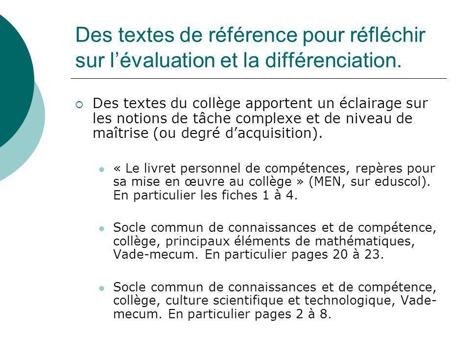 Des textes de référence pour réfléchir sur l'évaluation et la différenciation.