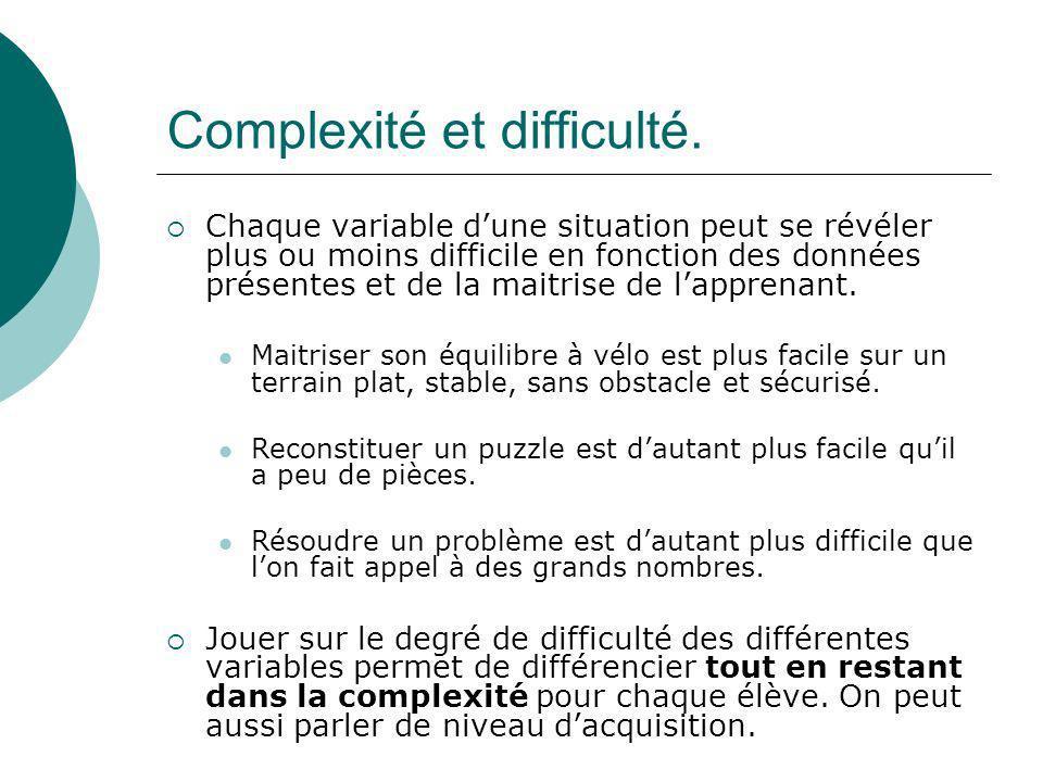 Complexité et difficulté.