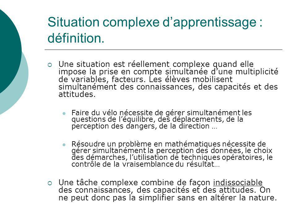 Situation complexe d'apprentissage : définition.