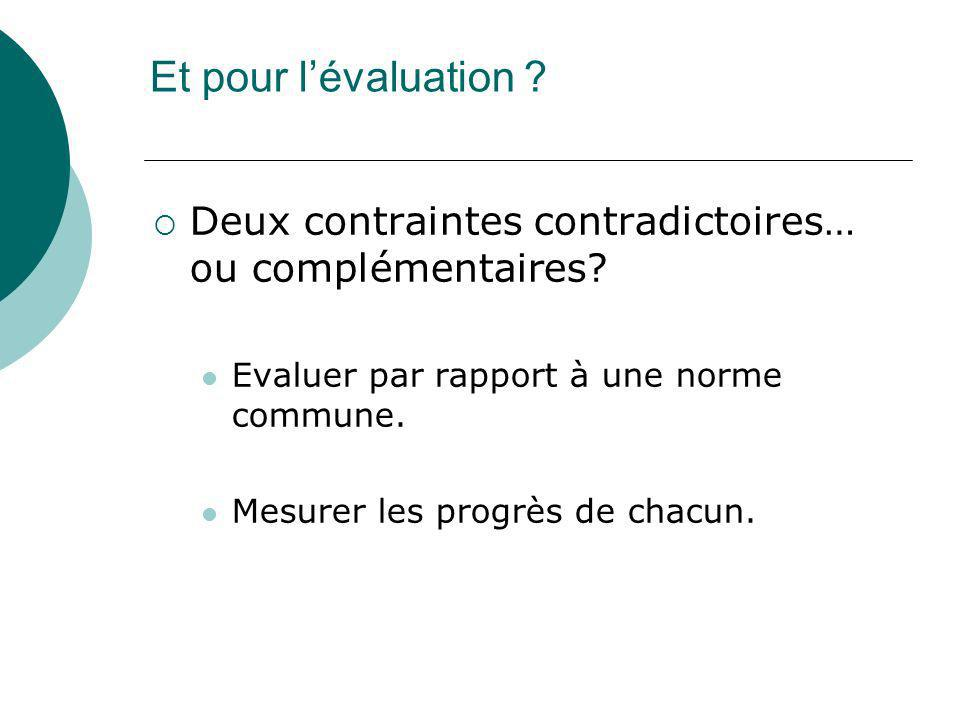 Et pour l'évaluation Deux contraintes contradictoires… ou complémentaires Evaluer par rapport à une norme commune.