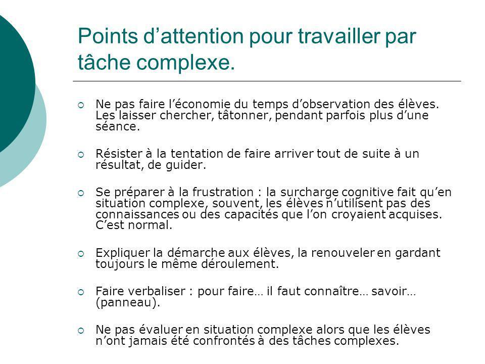 Points d'attention pour travailler par tâche complexe.