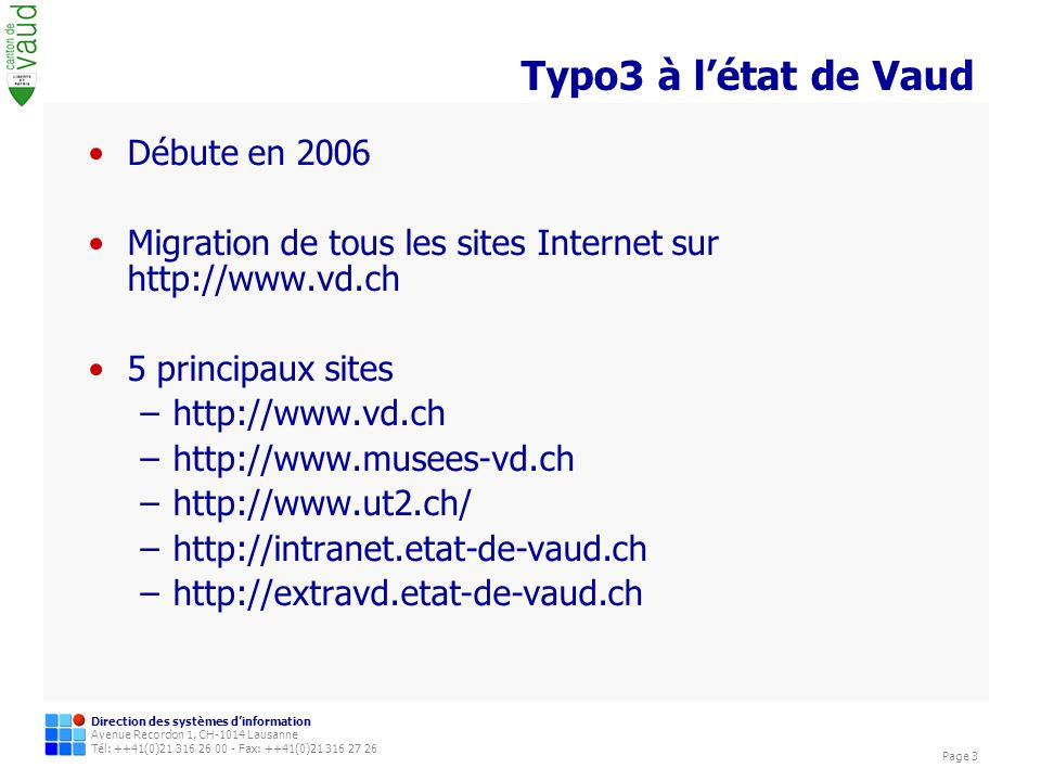 Typo3 à l'état de Vaud Débute en 2006