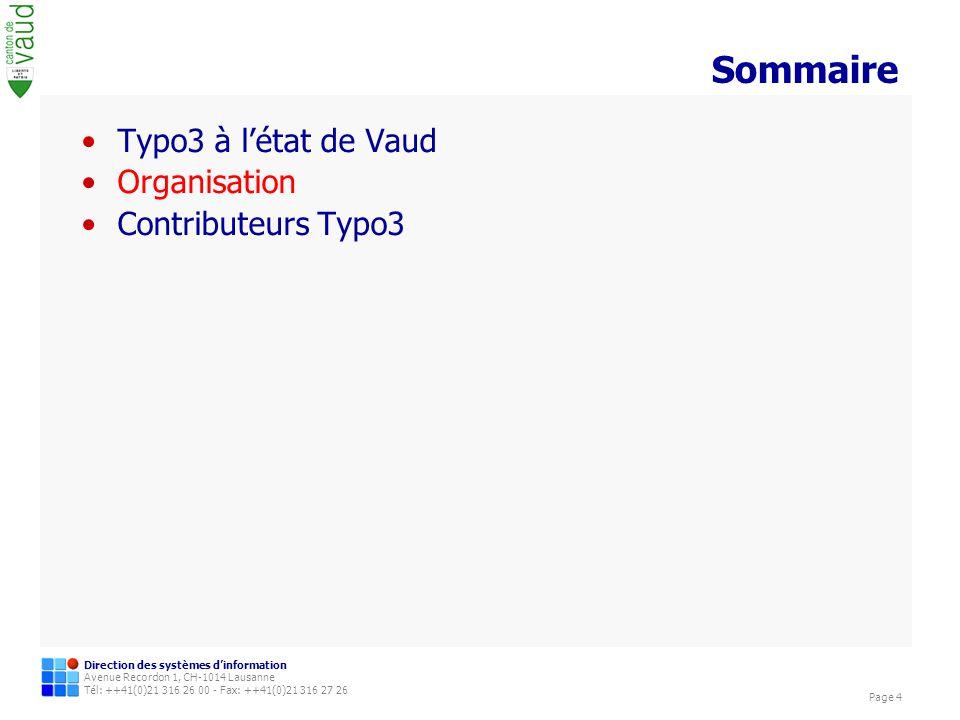 Sommaire Typo3 à l'état de Vaud Organisation Contributeurs Typo3