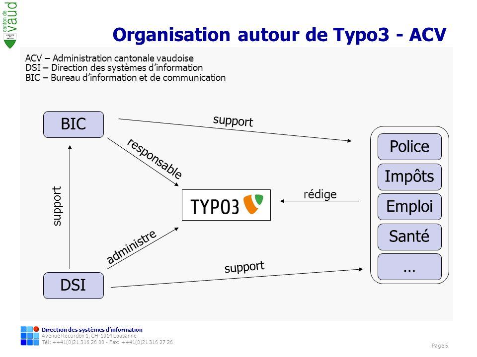 Organisation autour de Typo3 - ACV