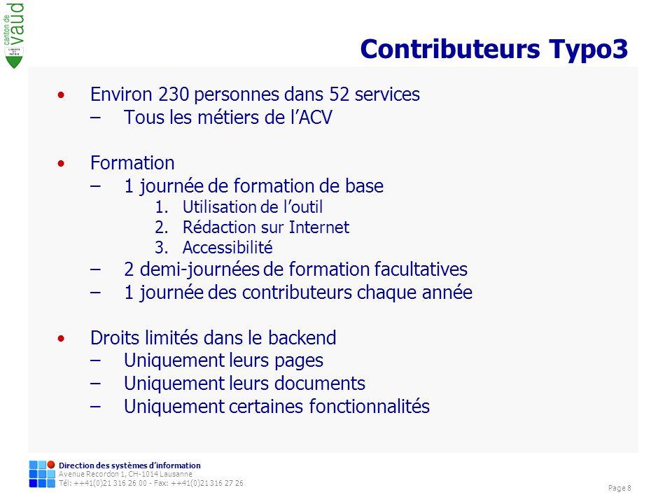 Contributeurs Typo3 Environ 230 personnes dans 52 services