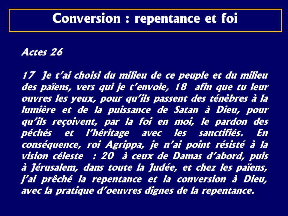 Conversion : repentance et foi