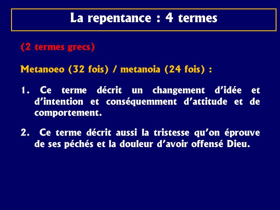 La repentance : 4 termes (2 termes grecs)