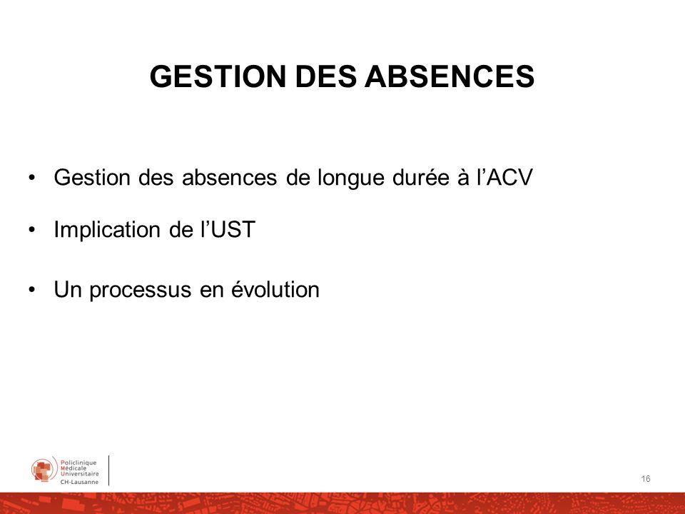 GESTION DES ABSENCES Gestion des absences de longue durée à l'ACV