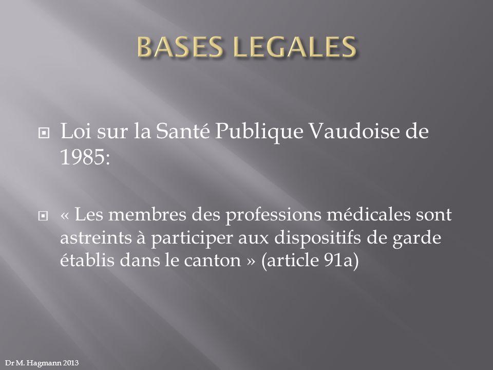 BASES LEGALES Loi sur la Santé Publique Vaudoise de 1985: