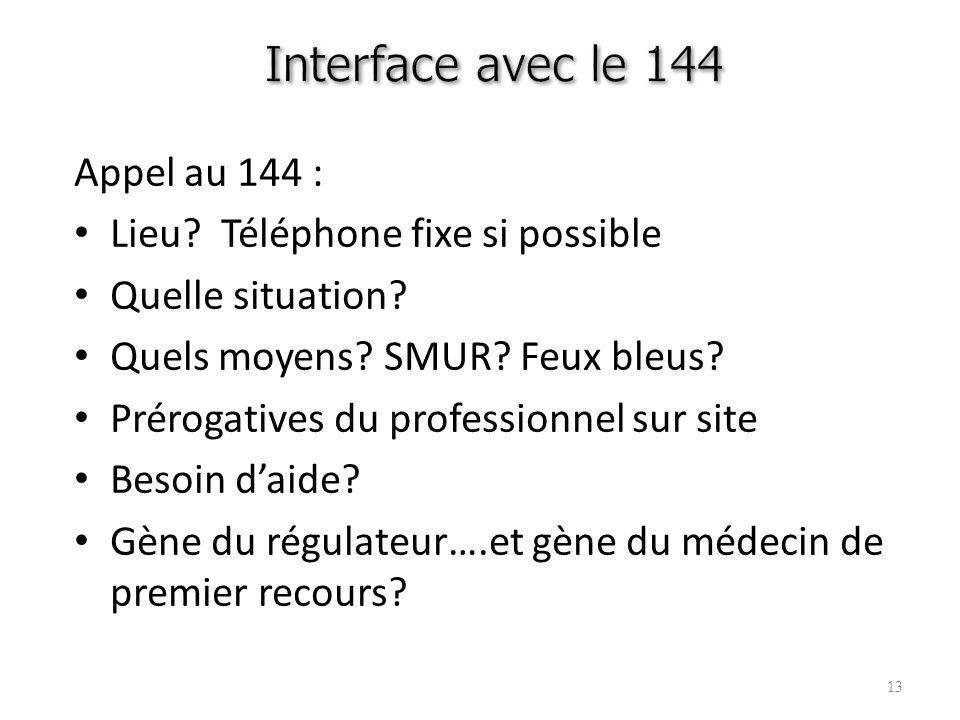 Interface avec le 144 Appel au 144 : Lieu Téléphone fixe si possible