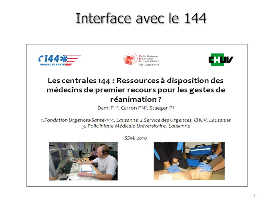 Interface avec le 144