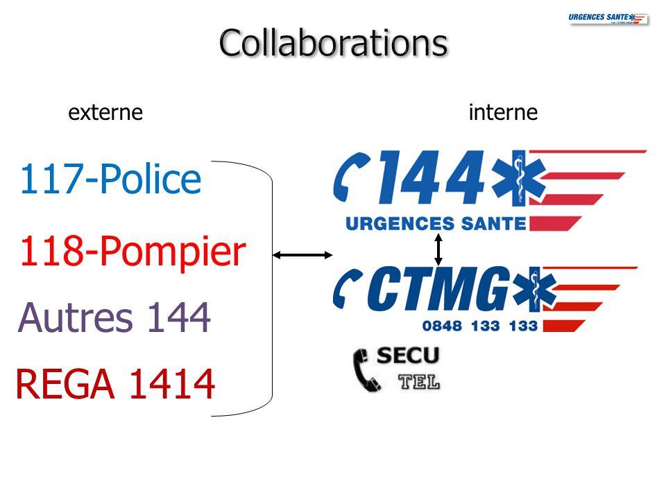 117-Police 118-Pompier Autres 144 REGA 1414 Collaborations externe