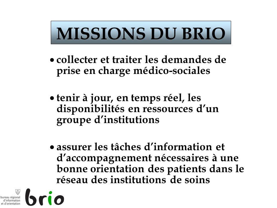 MISSIONS DU BRIO collecter et traiter les demandes de prise en charge médico-sociales.