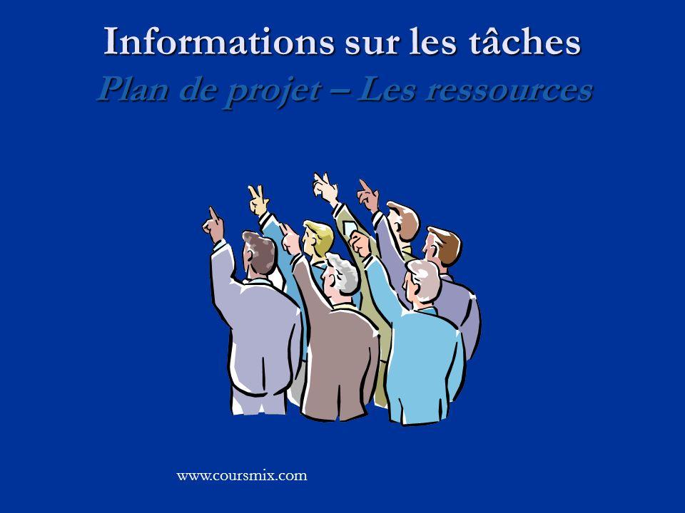 Informations sur les tâches Plan de projet – Les ressources