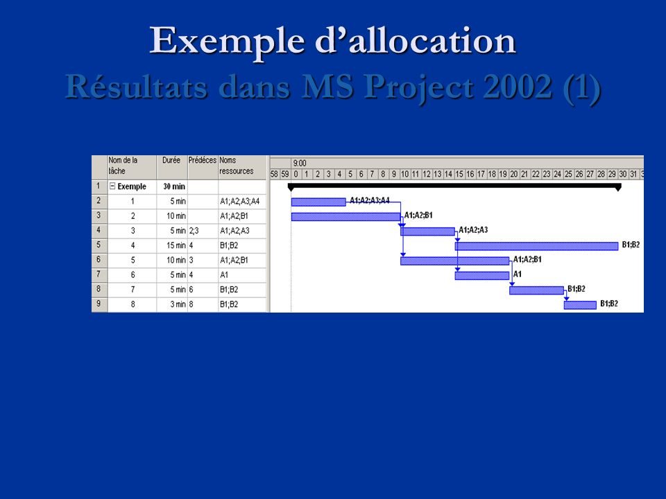 Exemple d'allocation Résultats dans MS Project 2002 (1)