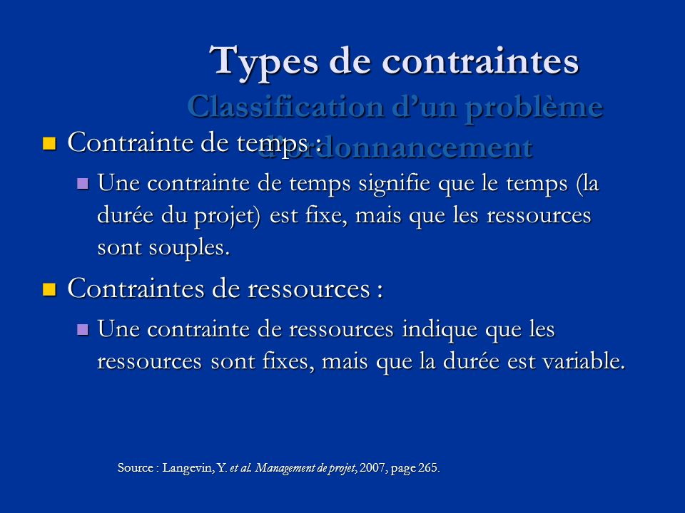 Types de contraintes Classification d'un problème d'ordonnancement