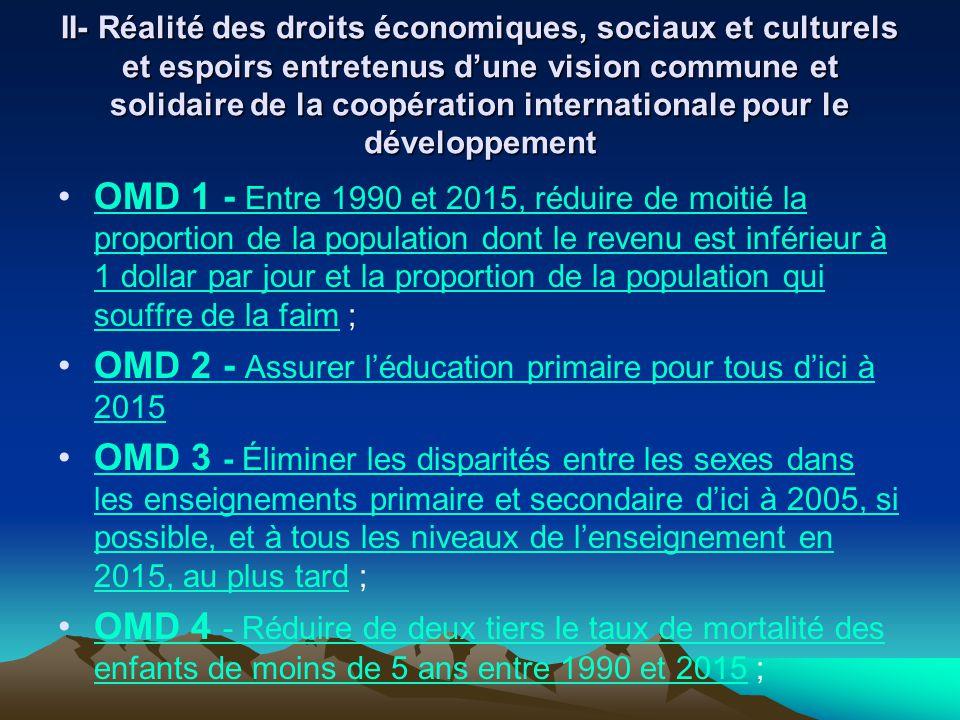OMD 2 - Assurer l'éducation primaire pour tous d'ici à 2015