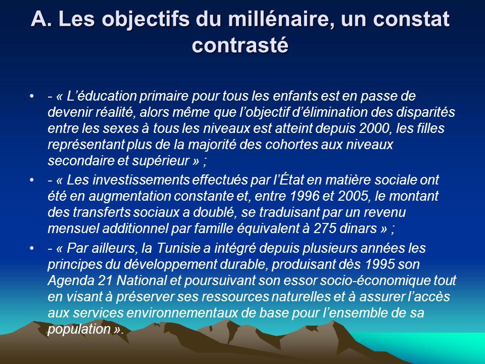 A. Les objectifs du millénaire, un constat contrasté
