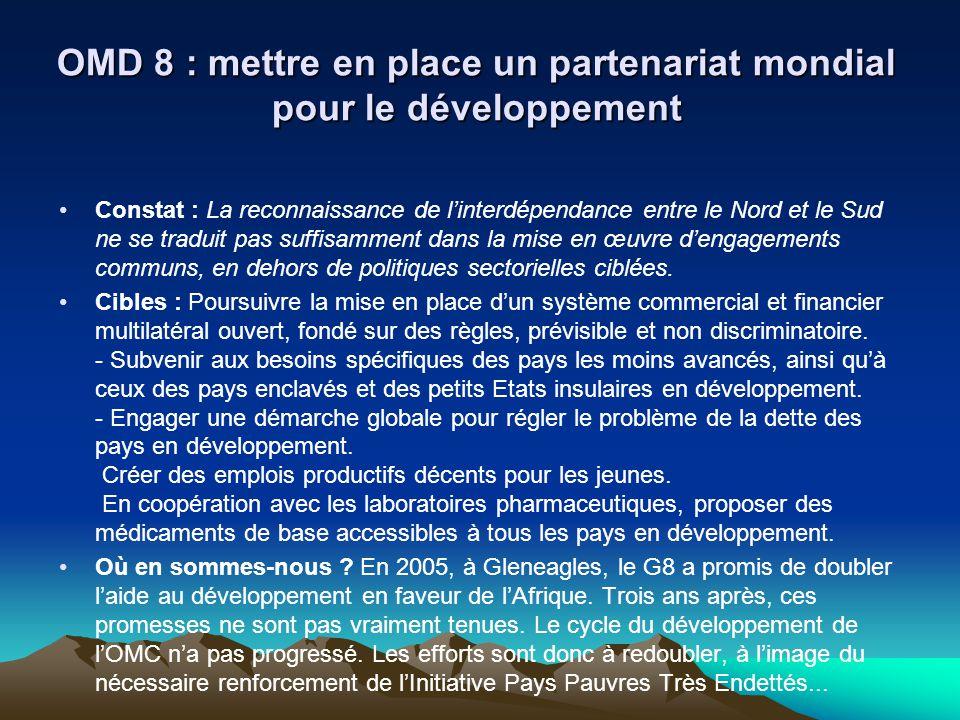 OMD 8 : mettre en place un partenariat mondial pour le développement