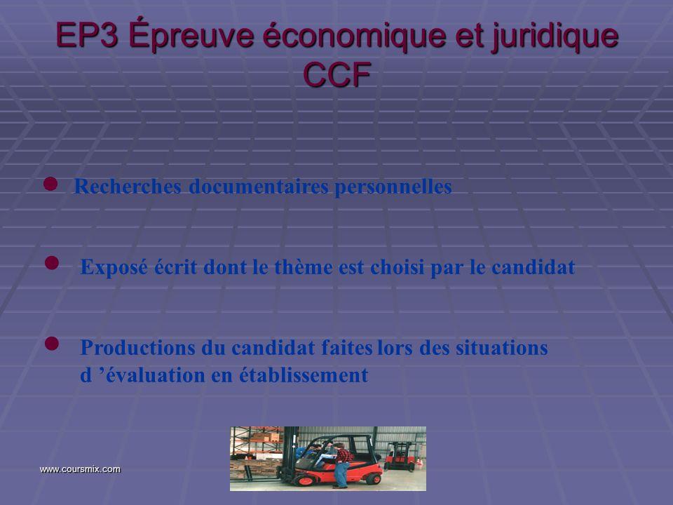 EP3 Épreuve économique et juridique CCF