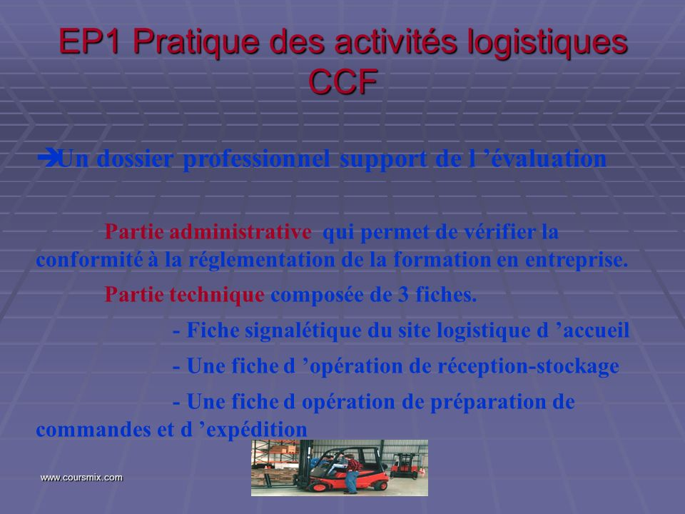EP1 Pratique des activités logistiques CCF