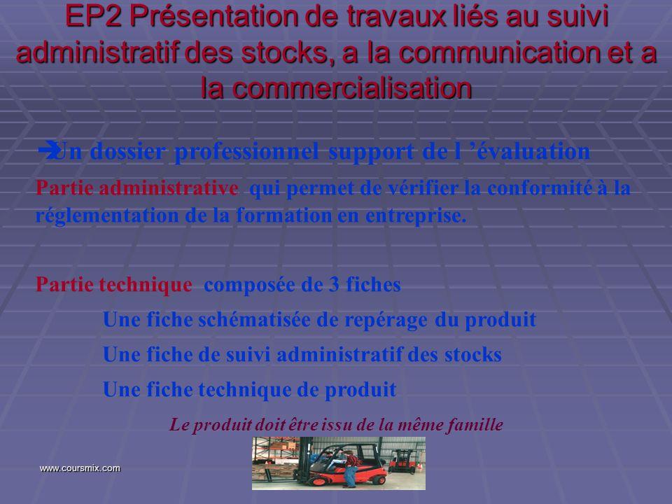 EP2 Présentation de travaux liés au suivi administratif des stocks, a la communication et a la commercialisation