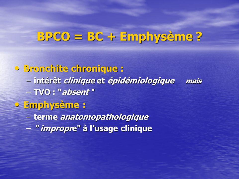 BPCO = BC + Emphysème Bronchite chronique : Emphysème :