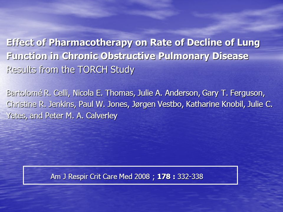 Effect of Pharmacotherapy on Rate of Decline of Lung