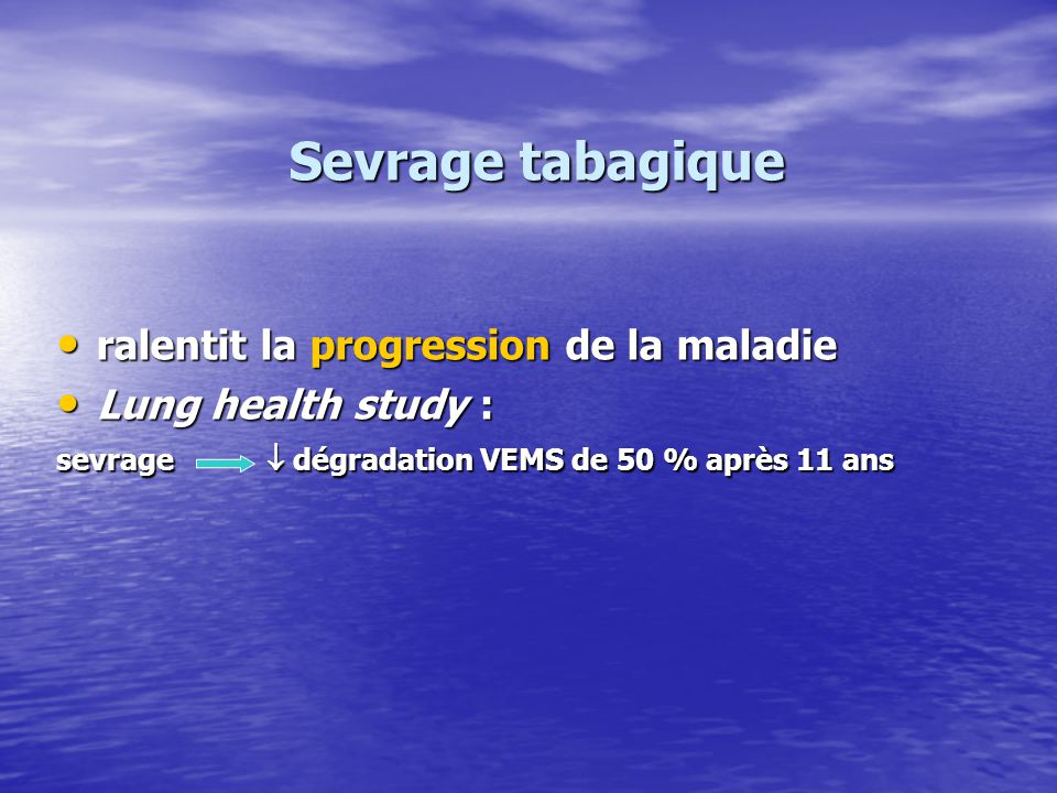 Sevrage tabagique ralentit la progression de la maladie