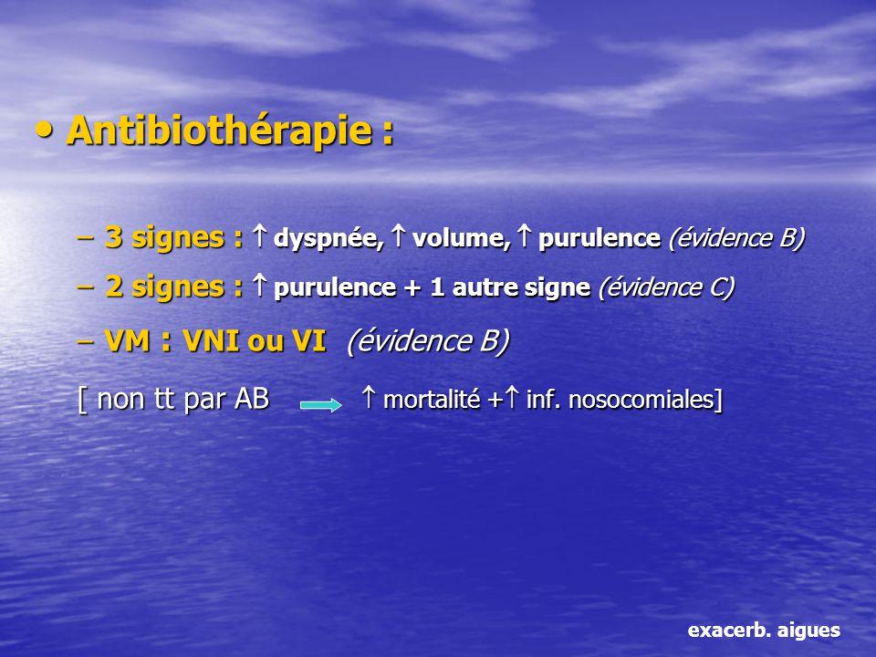 Antibiothérapie : 3 signes :  dyspnée,  volume,  purulence (évidence B) 2 signes :  purulence + 1 autre signe (évidence C)