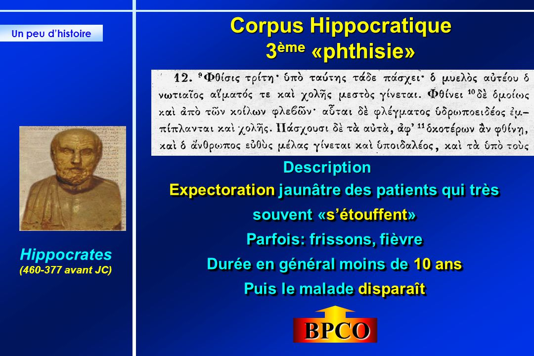 BPCO Corpus Hippocratique 3ème «phthisie» Description