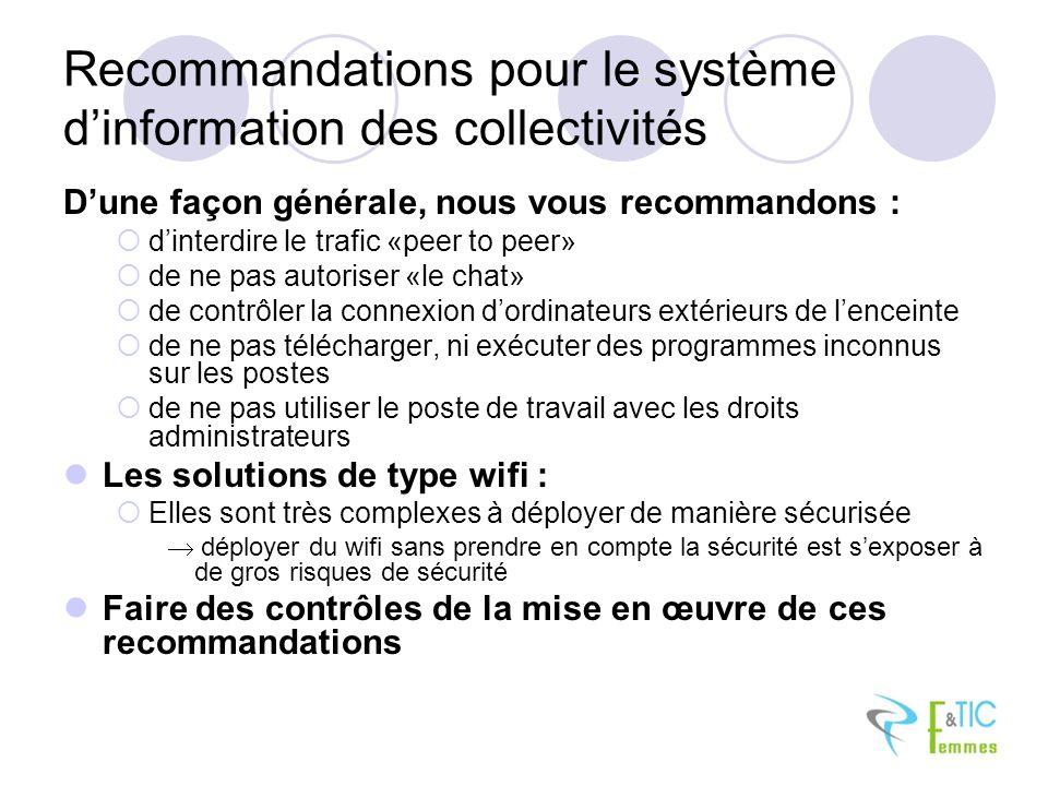 Recommandations pour le système d'information des collectivités