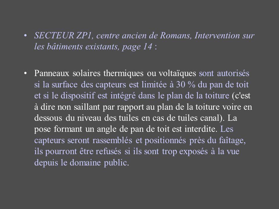 SECTEUR ZP1, centre ancien de Romans, Intervention sur les bâtiments existants, page 14 :