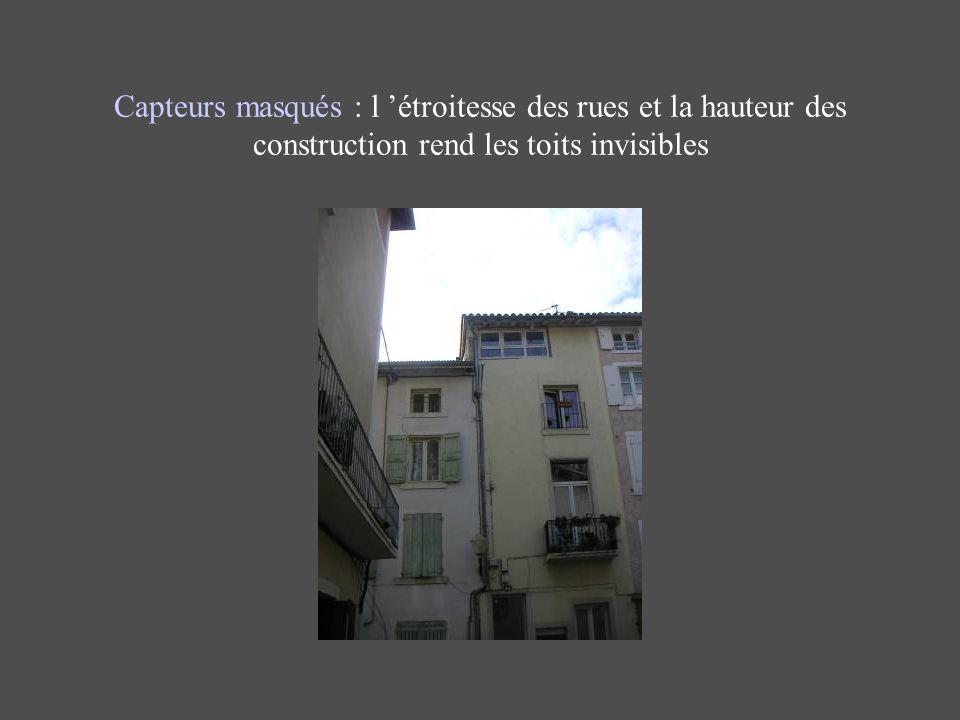 Capteurs masqués : l 'étroitesse des rues et la hauteur des construction rend les toits invisibles
