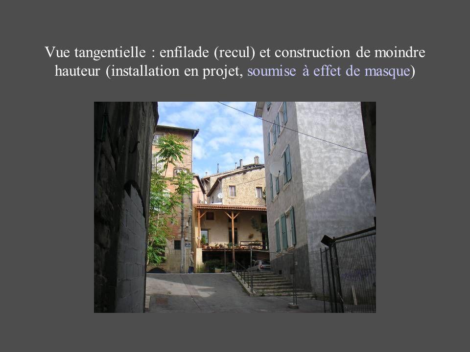 Vue tangentielle : enfilade (recul) et construction de moindre hauteur (installation en projet, soumise à effet de masque)