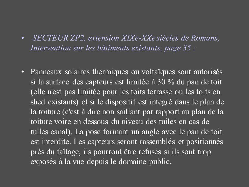 SECTEUR ZP2, extension XIXe-XXe siècles de Romans, Intervention sur les bâtiments existants, page 35 :